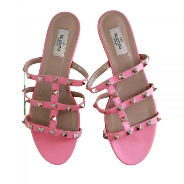 Valentino Garavani Rockstud Pink Leather Mules