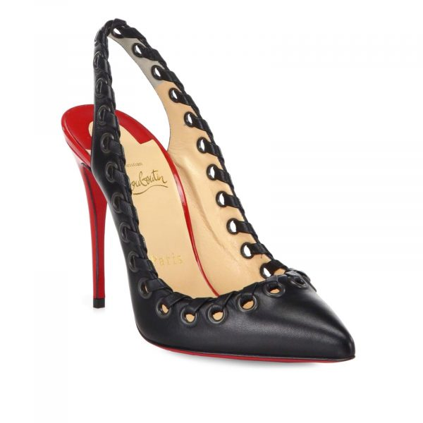 Christian Louboutin Authentic Ostri Sling 120, Black Red