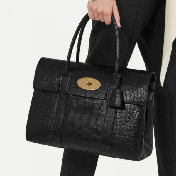 MULBERRY Authentic Bayswater Croc, Black leather