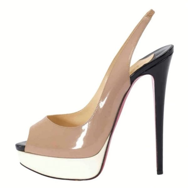 Christian Louboutin Authentic Lady Sling 150, Nude White Black Patent leather