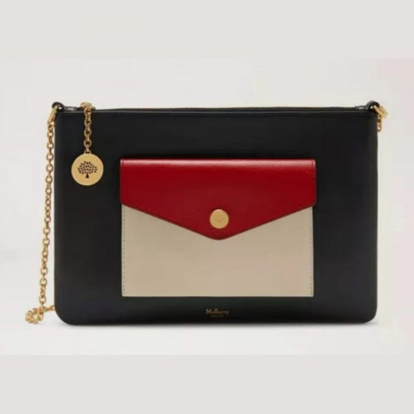 MULBERRY Large Pouch Bag On Chain Crossbody, Navy Red Chalk