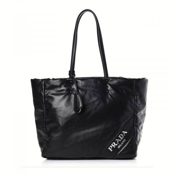 PRADA Soft Nappa Leather XL Tote, Black leather, Blue interior