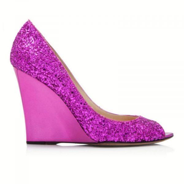 Jimmy Choo Glitter Pink Wedges
